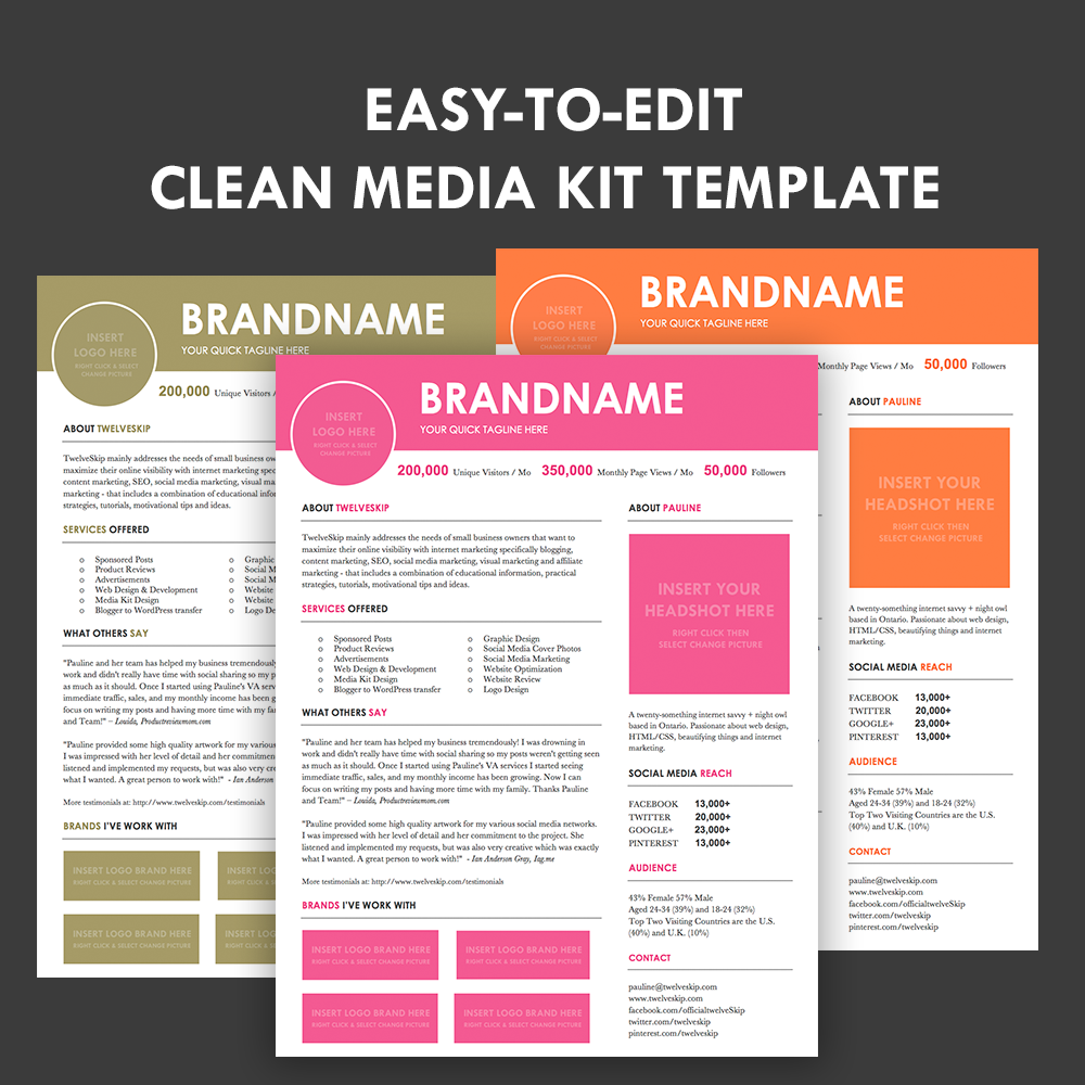 Media kit screen3 for Press pack template