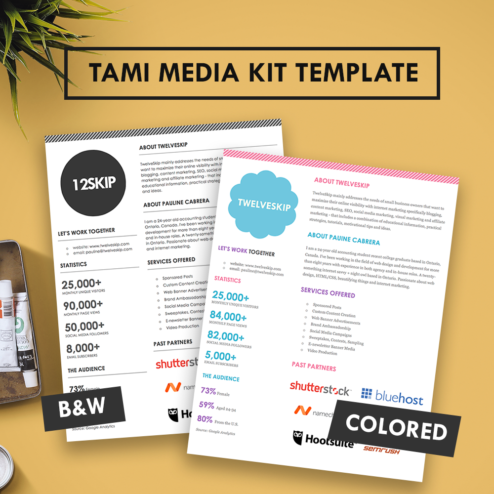Tami media kit for Press pack template